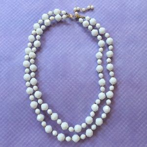 Jewelry - Vintage white double-strand bead necklace